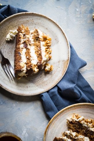 layered sicky toffee and cream cake with salted caramel popcorn